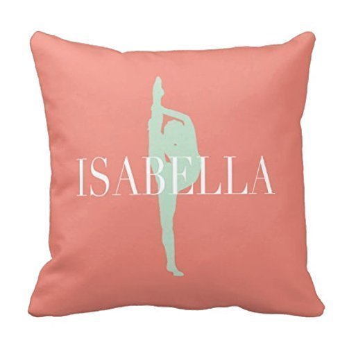 Dance Throw Pillow Cover, Dancer Bedding, Monogrammed, Coral, Grayed Jade - ANY COLOR, NAME, 16x16