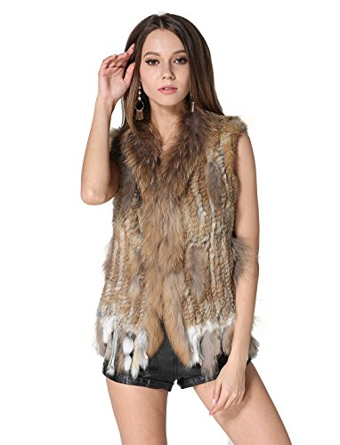 MEEFUR Rabbit Fur Vests Raccoon Fur Collar Women's Winter Autumn Gilets Real Fur Knitted Waistcoat (Gbrown, US8)