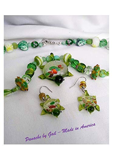 (Necklace, Earrings, Hand Beaded, Lampwork Glass, Hand Blown Glass Turtle Family, Glass Spacers,)