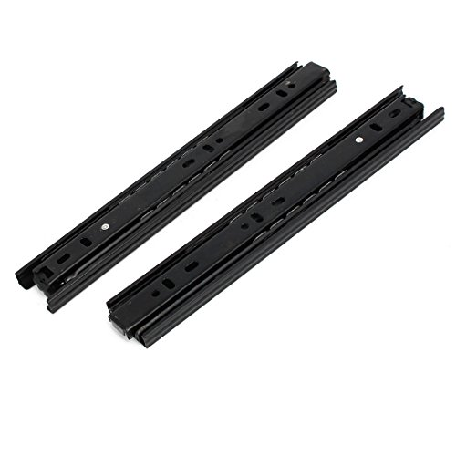 uxcell 10 Inch Length 35mm Width 3-Section Ball Bearing Drawer Slides Rail Black 2pcs by uxcell