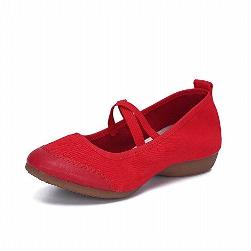 con de Zapatos Sandalias Paño Modern Latino y Zapatos de Samba Suave Cuero Cuero de Zapatos Baile de Plano Tobillo Onecolor Baile de Lona Jazz Zapatos Rojo BYLE de Fondo 1Aqnxw1