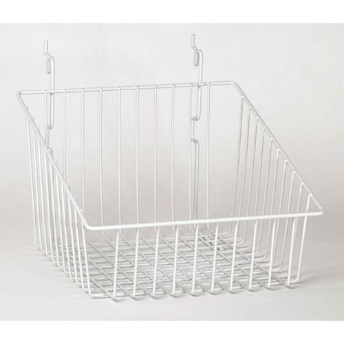 Set of 8 New Retails White Sloping basket 12''w x 12''d x 8''h back x 4''h