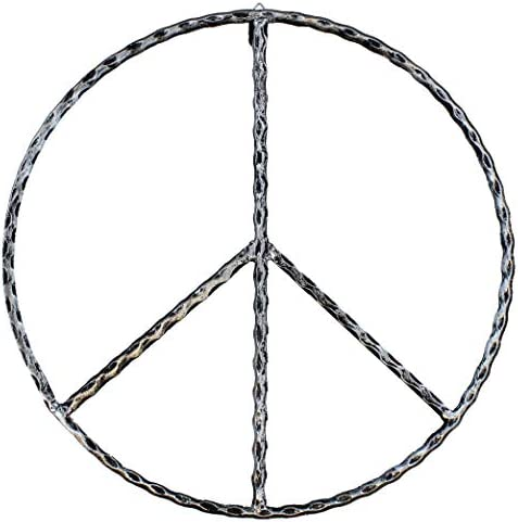 Old River Outdoors Large Metal Peace Sign Wall Decor Art – 16 Rustic Hippie Plaque