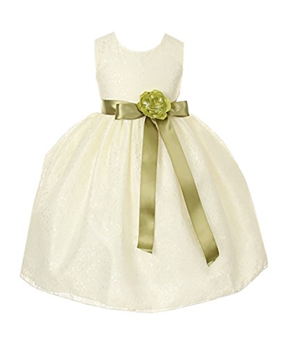 Cinderella Couture Girls Ivory Lace Dress with Sage Sash & Flw 2 (1132)