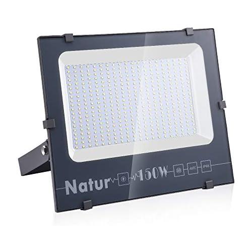 chollos oferta descuentos barato Natur 150W LED Foco Exterior alto brillo 15000LM Impermeable IP66 Proyector Foco LED Iluminación de Seguridad Blanco cálido 3000K para Patio Camino Jardín Clase de eficiencia energética A