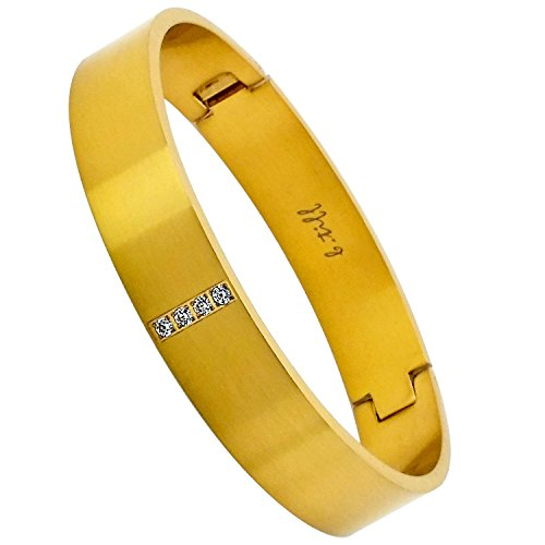 B.Tiff Signity Star Brighter than Diamond Pave Bangle Bracelet Gold, Black, Steel, Small, Med, Large (Gold, Size Large)