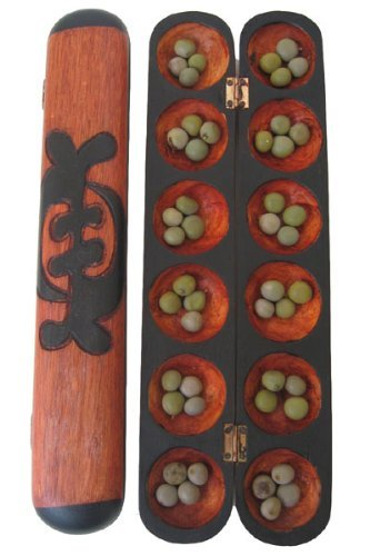 Mancala Oware Seed Game - African Counting Math Game - Carved in Africa by Africa Heartwood Project