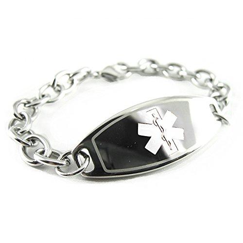 My Identity Doctor Custom Engraved Womens Medical Alert Bracelet, Steel 6mm O-Link Chain, Medium - White