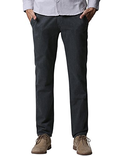 Match Mens Slim-Tapered Flat-Front Casual Pants(8025A Charcoal gray, 32W x 31L) - Slim Fit Charcoal Dress Pants