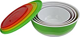 Surpahs Melamine Plastic Nested Mixing and Prep Bowl with Lids, Set of 4