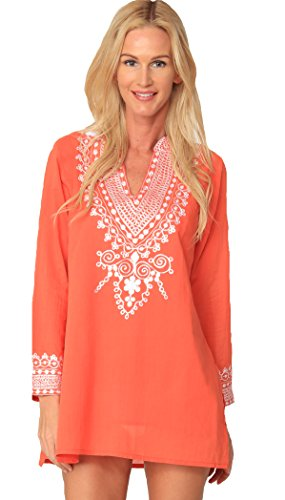 Embroidered Peasant Blouse - INGEAR Embroidered Blouse Boho Long Sleeve Peasant Summer Beachwear Cover Up (Medium, Coral)