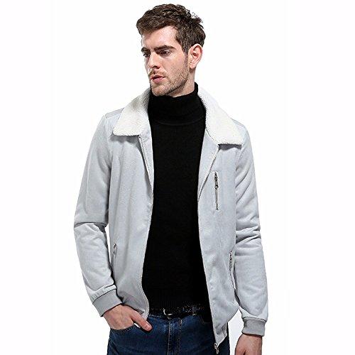 Sleeve Slim Trucker Long Shearling Full Corduroy Sherpa HARRYSTORE Jacket Vintage Top Zip Men's Lined Gray BTqWUw7