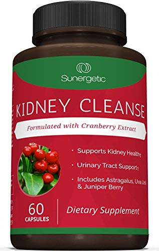 Premium Kidney Cleanse Supplement - Powerful Kidney Support Formula With Cranberry Extract Helps Support Healthy Kidneys, Bladder Health & Urinary Tract Support- 60 Vegetarian Capsules
