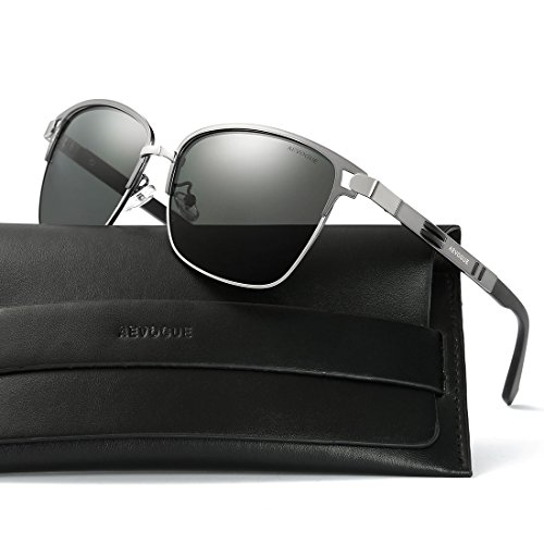 AEVOGUE Polarized Sunglasses Square Premium Full Mirrored Retro Unisex Glasses AE0524 (Gray, - Gray Photo Glasses