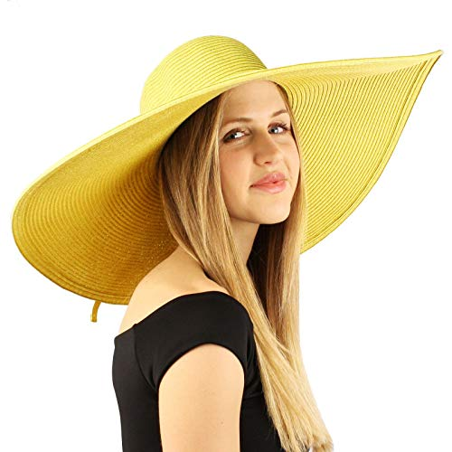 "Summer Elegant Derby Big Super Wide Brim 8"" Brim Floppy Sun Beach Dress Hat (Yellow)"