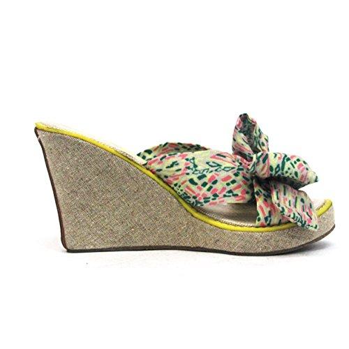 Juicy Couture cuña talón sandalia Talla 3,5 Amarillo - amarillo