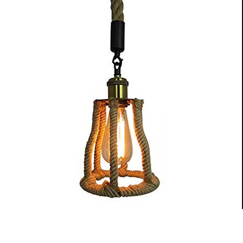 ●   Rétro lustre café en corde de chanvre bar restaurant américain E27 lumière hauteur du corps 180mm ●
