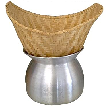 Thai Lao Sticky Rice Steamer Pot and Basket Cook Kitchen Cookware Tool