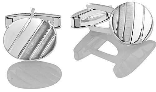 Men's Sterling Silver .925 Oval Striped Design Cufflinks with Satin Finish. Made In Italy. By Sterling Manufacturers by Sterling Manufacturers (Image #1)
