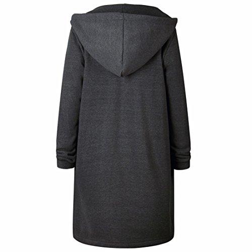 Qiyun Sweat Femme z Éclair Gris Manteau À Manches Foncé Capuche Décontracté shirt Fermeture Longues Pour rx5rBwRTq