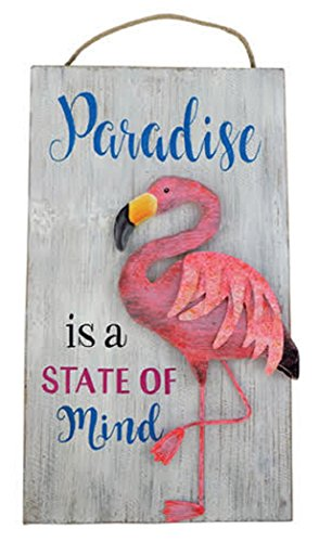 (Barry Owens Co. Inc. Flamingo Sign Wood with Raised Metal Accent 18.5 Inches x 10.5 Inches (Paradise))
