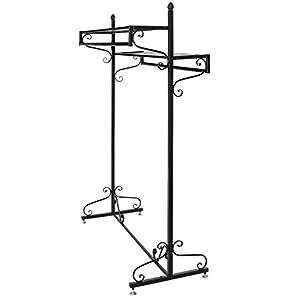 Victorian Style Boutique Clothes / Garment Display Rack w/ Dual Hangrail & Cargo Shelves, Black - MyGift
