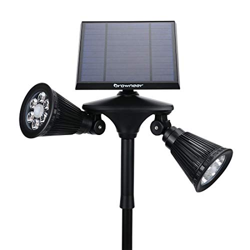 Solar Spotlights 2-in-1 Dual Head Outdoor 12 LED Landscape Lights, 360 Degree Rotatable Adjustable Solar Wall Light Security Lighting Dark Sensing Auto On/Off for Pathway Yard Garden Driveway Pool by GROWNEER