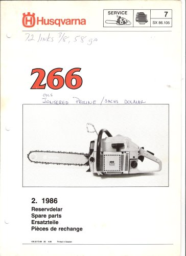 Husqvarna Chainsaw Model 266 Spare Parts