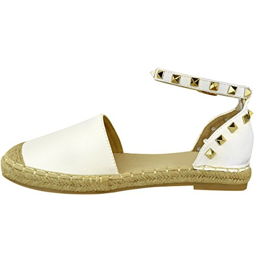 White Shoe Fashion Thirsty Studded Womens Strap Faux Leather Ankle Summer Flat Espadrilles Size Hessian BBzwxU