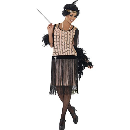 Smiffy's Women's 1920's Coco Flapper Costume, Dress, Cigarette Holder, Necklace and Headpiece, 20's Razzle Dazzle, Serious Fun, Size 6-8, (Flapper Girls Dresses)