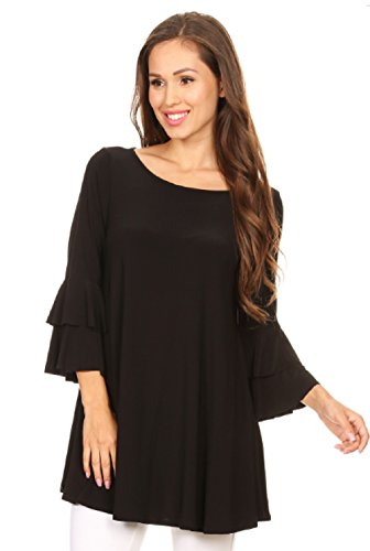 Love My Seamless Womens Solid Tunic Fashion Top Round Neckline 3/4 Length Bell Sleeves Tiered Detail