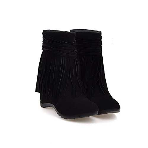 Round Low Allhqfashion Heels Closed Toe Frosted Women's Black On Boots Pull High Top wHFq6