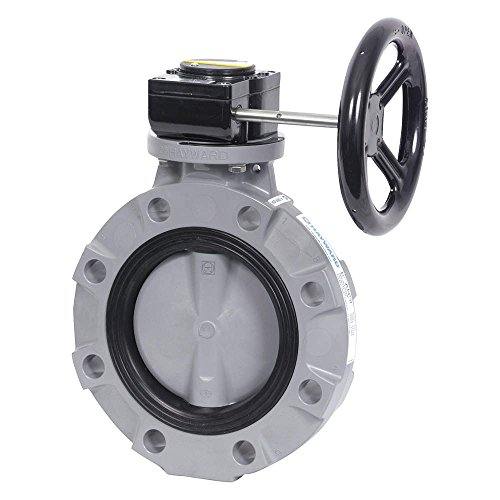 "Hayward BYV11100A0EG000 Series BYV Butterfly Valve, Gear Operated, PVC Body, PVC Disc, EPDM Seals, 10"" Size"