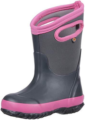 Bogs Classic High Waterproof Insulated Rubber Neoprene Rain Boot Snow, Matte Dark Gray, 5 M US Big Kid (Redhead Boots Classic)