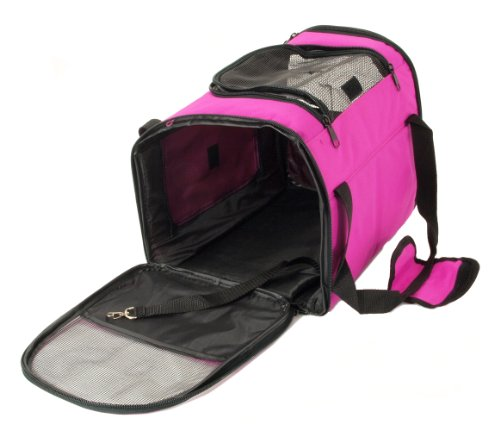 pet-carrier-dog-cat-house-soft-crate-cage-tote-kennel-portable-travel-pink-by-edm