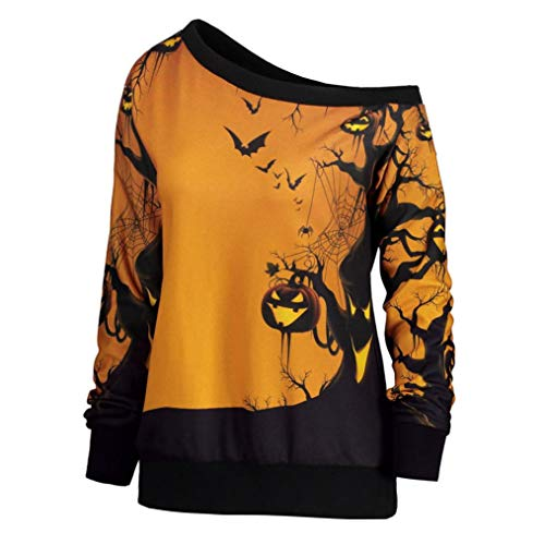Fiaya Women's Off Shoulder Slouchy Sweatshirt Halloween Pumpkin Witch Bat Long Sleeve Jumper Pullover Tops (Yellow, M) ()