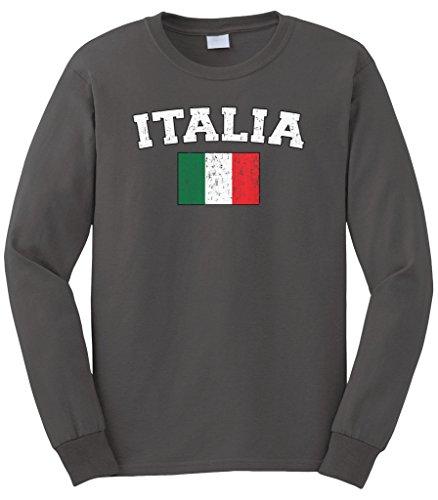 - Cybertela Men's Faded Distressed Italia Flag Long Sleeve T-Shirt (Charcoal, Large)