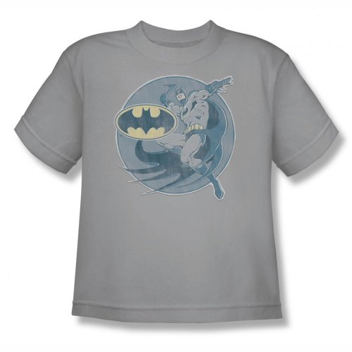Batman+Retro+Shirts Products : Dc Comics - Youth Retro Batman Iron On T-Shirt In Silver