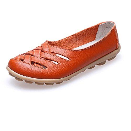 Advogue Damen Mokassin Leder Loafers Fahren Schuhe Comfort Freizeit Flache Schuhe Orange