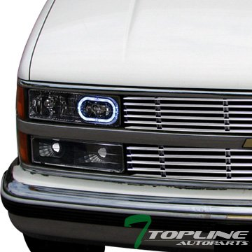 Topline Autopart Black Clear Lens Front Turn Signal Blinkers Bumper Parking Lights Lamps Yellow For 88-00 Chevy GMC C10 CK C/K Silverado Suburban 1500 2500 3500 Blazer Yukon Truck SUV