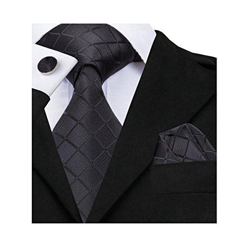 Hi-Tie Fashion Black Tie Handkerchief Cufflinks set Woven Silk Necktie for Men (new (Man Fashion Silk)