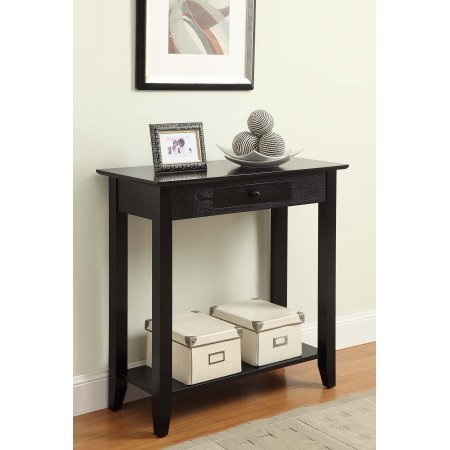 Petite Hall Table with 1 Drawer and 1 Shelf, Curved Feet, Thin Profile, Sleek Design, Rounded Pull-out Knob, Perfect for Your Entry, Hall or Living Room, Black + Expert Home Guide by Love US