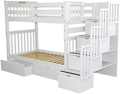 home, kitchen, furniture, bedroom furniture, beds, frames, bases,  beds 1 picture Bedz King Tall Stairway Bunk Beds Twin over deals