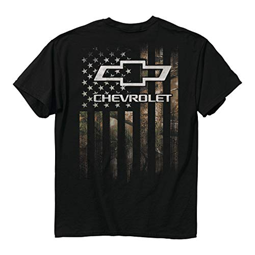 Buck Wear Men's Chevy Chevrolet Camo Accent Flag T-Shirt, Black ()