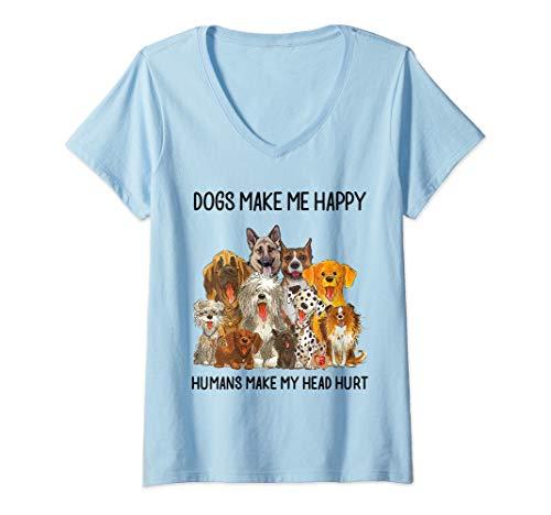 Womens Dogs Make Me Happy Humans Make My Head Hurt T-Shirt V-Neck T-Shirt ()