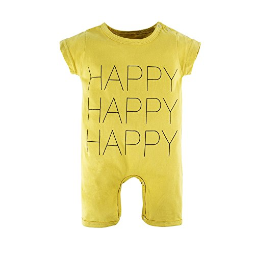 (BIG ELEPHANT Baby Boys'1 Piece Short Sleeve Letters Print Romper Jumpsuit Yellow O46-80 9-12 Months)