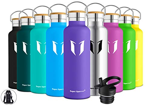 Super Sparrow Stainless Steel Vacuum Insulated Water Bottle, Double Wall Design,Standard Mouth – 500ml & 750ml – BPA Free – with 2 Exchangeable Caps + Bottle Pouch (Lavender, 1000ml-32oz)