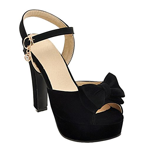 Mee Shoes Damen high heels Schleife Plateau Sandalen Schwarz