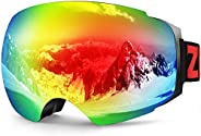 ZIONOR X4 Ski Snowboard Snow Goggles Magnet Dual Layers Lens Spherical Design