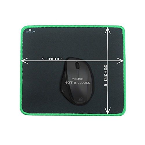 """Reflex Lab Mouse Pad/Mat, (Green) Stitched Edges, Waterproof, Ultra Thick 3mm, Silky Smooth - 9""""x8"""" Mousepad"""